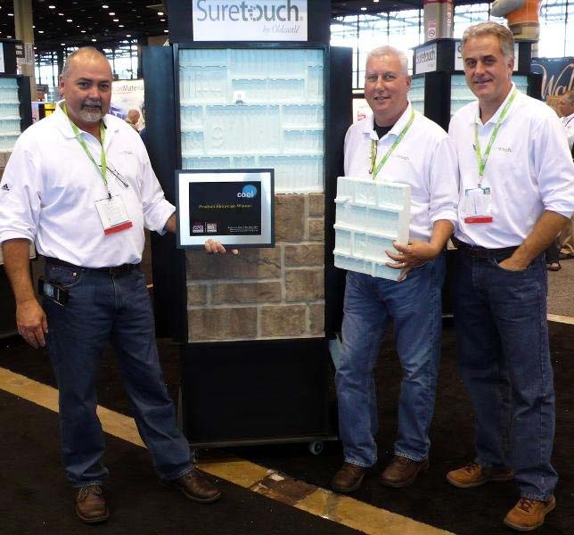 "Timmy Rhodes, Michael Rohrer & Kevin Cavanaugh of EnduraMax accept the ""Cool New Product"" award at Chicago NAHB Remodel Show & Conference."