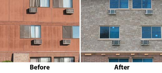 Before & After Photos of the Bay Shore Apartment Complex with EnduraMax Wall System