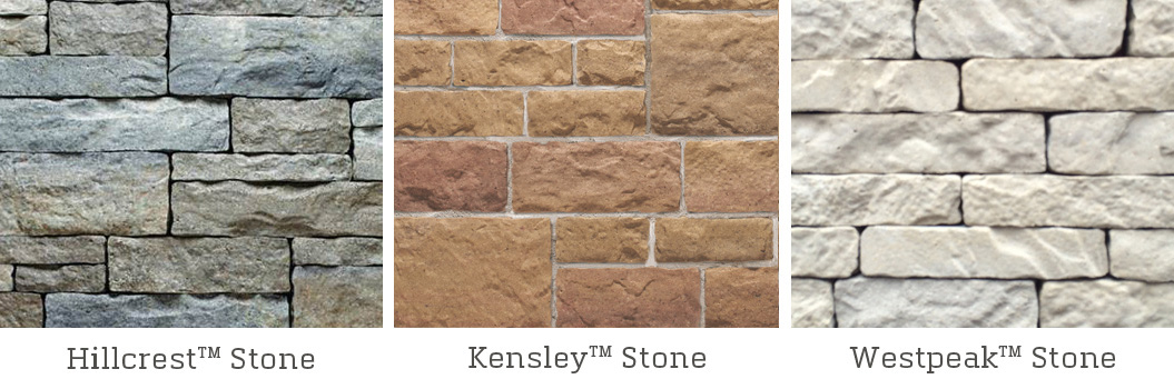 Hillcrest, Westpeak & Kensley Stone Veneer Finishes