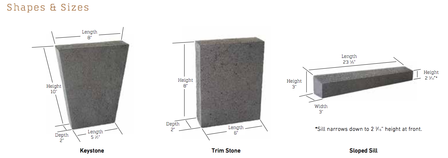Kensley Stone Thin Artisan Masonry Veneers From Echelon: Cordova Stone Accessories Cut Sheet: Echelon Masonry