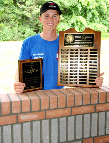"Jamison ""JK"" Huntley defended his 2017 NCMCA masonry championship by repeating in 2018, taking home first place in a field of 38 contestants from nine NCMCA member companies. Huntley's prize included $1,000 and a wheelbarrow full of tools. He will also represent the state of North Carolina at the MCAA International Skills Challenge in January 2019 in Las Vegas (photo by Carl Moser)."
