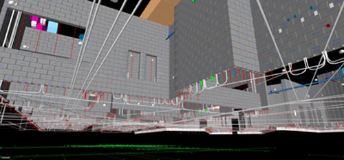 This rendering showing the view from under the slab illustrates how CAD BLOX models allow Oldcastle masonry projects to participate in 3D model coordination that reduces clashes with steel, electrical, mechanical and other trades.